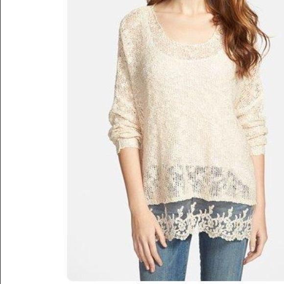 73% off olivia sky Sweaters - brown Olivia sky lace bottom sweater ...