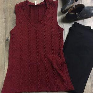 New Reddish burgundy Sleeveless Sweater
