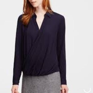 Ann Taylor Collared Front Wrap Blouse Top