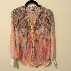 Haute Hippie Tops - Haute Hippie Silk Pink Python Print Blouse Top