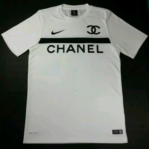 chanel jersey. white nike x chanel football jersey coco #5 dri-ft