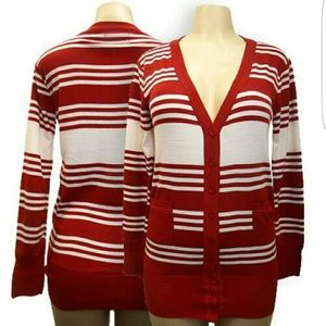 unknown  Sweaters - Red and white striped cardigan