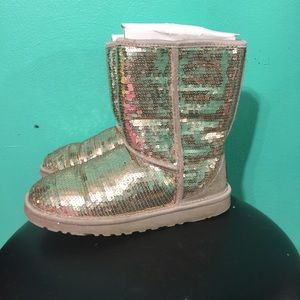 Silver sequins ugg boots women size 6