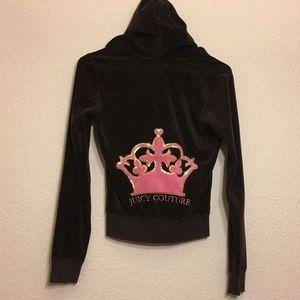 Juicy Couture Brown Velour Zip Up Hoodie