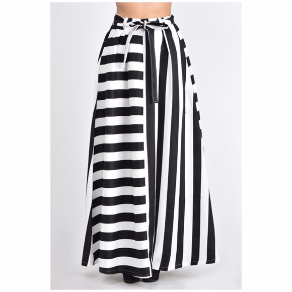 866a3c80371 Plus size navy striped belted maxi skirt