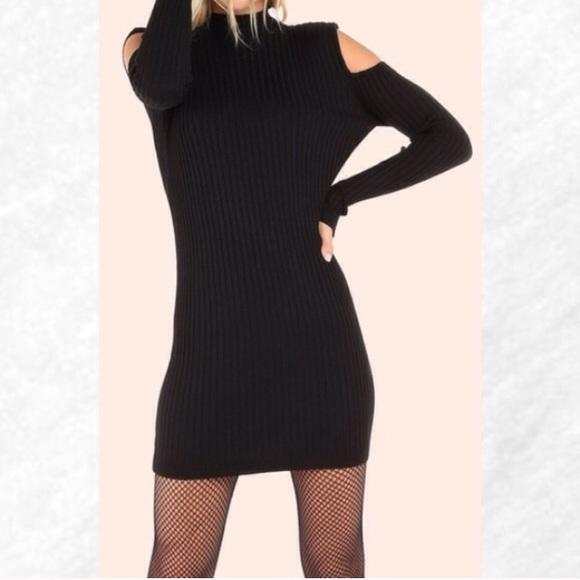 Dresses & Skirts - Clearance! Black Cold Shoulder Ribbed Knit Dress