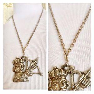Vintage Jewelry - Vintage Silvertone Statement Necklace, Cupid!