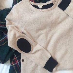 J. Crew black/tan sweater with elbow patches