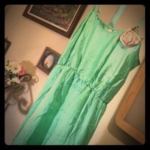 XS Anthropologie green hammered silk dress