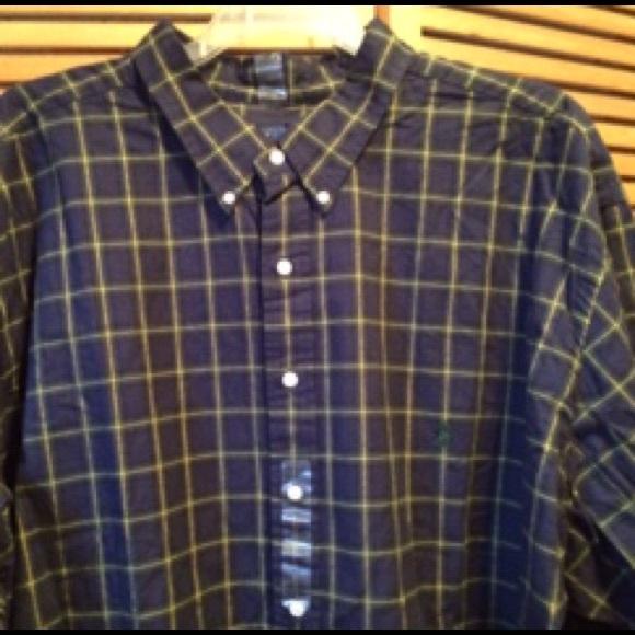 71 off ralph lauren other ralph lauren navy blue plaid for Mens 4xlt flannel shirts