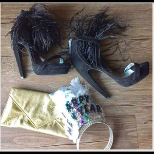 Bebe // Black Feather fur heel sandals // size 6