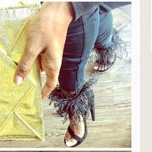 bebe Shoes - Bebe // Black Feather fur heel sandals // size 6