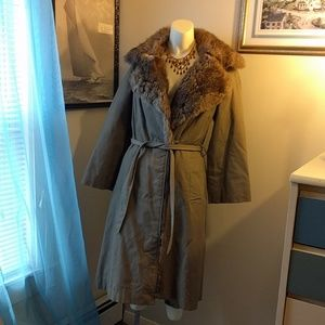 Vintage Fur Lined Korean Cargo Trench