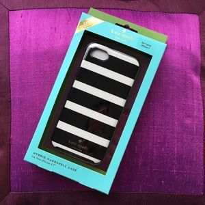 NEW Kate Spade Black & White Stripe iPhone 7 Case