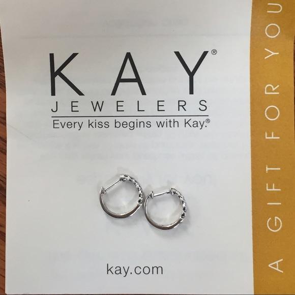 3525be2b9 Kay Jewelers Jewelry - Kay Jewelers White Gold Diamond Hoop Earrings