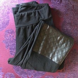 Pants - Black Leggings w/Faux Leather