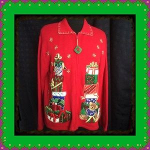 Heirloom Collectibles Sweaters - Christmas Sweater Vintage Zippered Cardigan