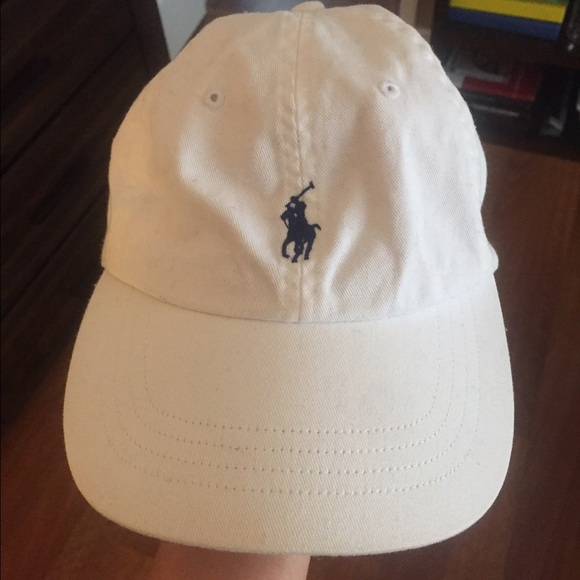 White polo hat navy blue stitching. M 5838729d56b2d672ab038986 65b3f2693e7