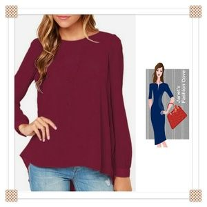 Tops - New Arrival> Wine Colored Chifon Pleated Top