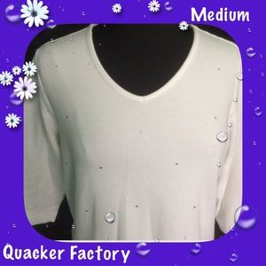 Quacker Factory Tops - Quacker Factory / Scattered Rhinestones / V Neck