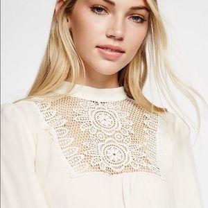 Express Lace Bib White Long Sleeve Blouse