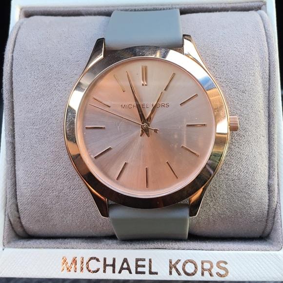 d27283065a84 Michael Kors Runway Gray Silicone watch MK2512 NWT