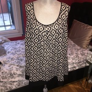 Tops - Black and Ivory Patterned Blouse Long Blouse Tunic