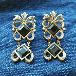 Vintage Two Piece Gold Dangle Post Earrings