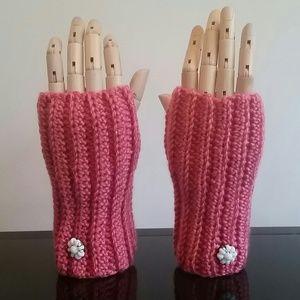 The Girl In Grey Accessories - HOST PICK!!! Handmade pink fingerless gloves