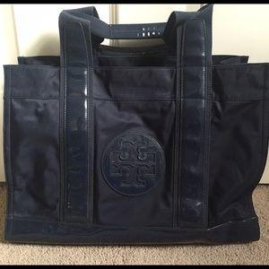 Tory Burch Ella Nylon Tote Bag, large navy blue