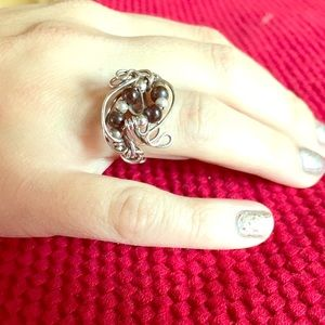 Jewelry - Silver & Pearl Wire Wrapped Ring