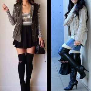 HUE Accessories - Cable Knit Over The Knee Sock Thigh High Cuff Boot