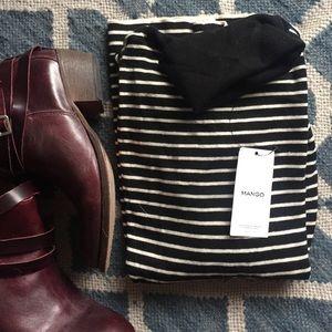 MANGO basic striped turtleneck sweater