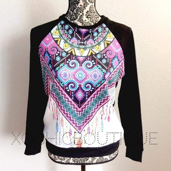 tribal boho chic light sweatshirt