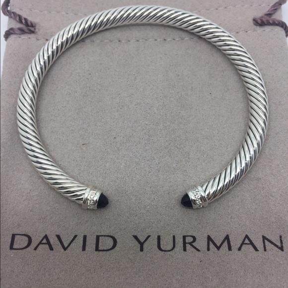 7796acd43432 David Yurman Jewelry - David Yurman Cable Bracelet, Black Onyx + Diamonds