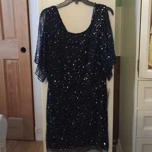Pisarro Nights Dresses & Skirts - Pisarro Nights Navy Blue Beaded W. Sleeve dress 6