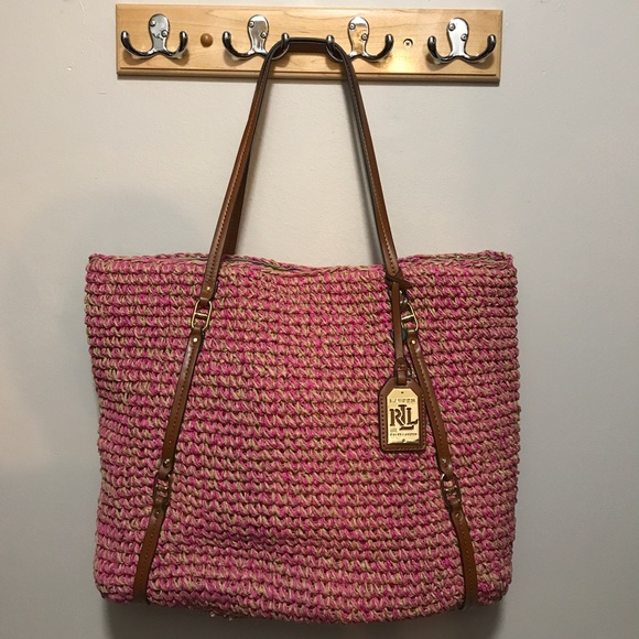 cd369ddf424f Ralph Lauren Large Goswell straw bag NWT