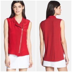 Bailey 44 Tops - Bailey 44 Red Silk Zipper Top