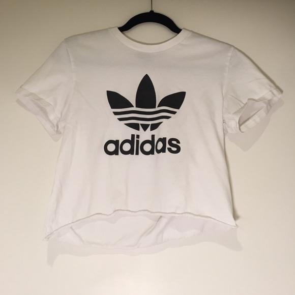d1e8a629f84 Adidas Tops | White Cropped Logo Tshirt | Poshmark