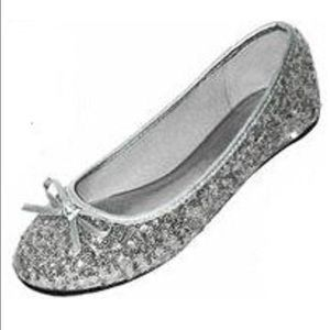 New unused women's silver sequin ballet slippers