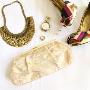 Metallic Paisley Print Clutch