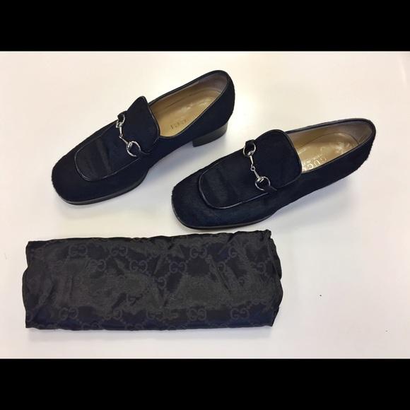 Gucci Black Horsebit Calf Hair Loafers