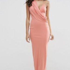 Asos One Shoulder Cami Cowl Front Maxi Crepe Dress