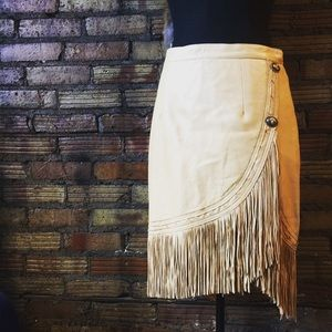 Vintage 80's USA MADE Butter soft fringe skirt