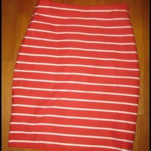 NWT Banana Republic Red White Stripe Pencil Skirt