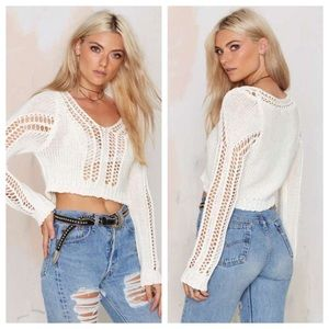 "Nasty Gal Sweaters - Nasty Gal ""Take It Easy"" Cropped Sweater."