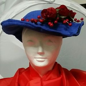 Regal Royal Blue Felt Hat w/Red & Black Decor