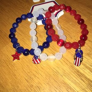 kohls Jewelry - Set of 3 red, white, and blue American bracelets