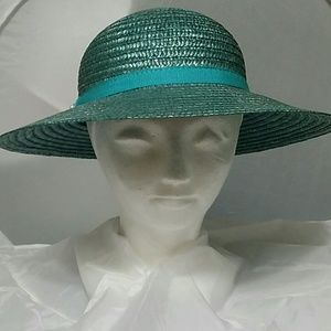Natural Straw Aqua Hat - Made in Italy