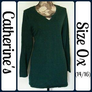 Catherines Sweaters - Sz 0x (14/16W) Catherine's Sweater, Dark Green